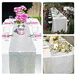 milkcha 4th of July Home Decor, Glitter Silver Sequin Table Runner Cloth Sparkly Wedding Party Decor 30x275CM, for Home & Garden