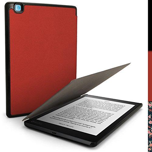 iGadgitz U5891 Rot Ultra Schlank PU Ledertasche Hülle Etui Schale Kompatibel mit Kobo Aura One 7.8 Zoll Case Cover Con Sleep Wake