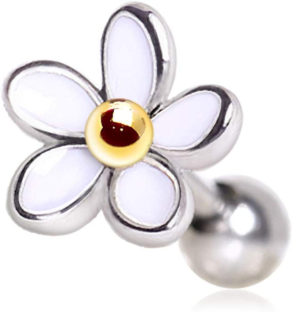 Cocobul Body Jewelry 316L Stainless Steel Sweet White Daisy Flower Cartilage Earring | 16 Gauge
