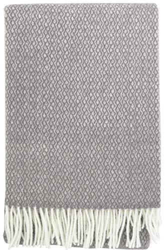 Plaids & Co Lange Wolldecke 'Brita' mit feinem Zopfmuster aus 100% Reiner Schurwolle Ökotex 100 Klasse 1, Kuscheldecke, Wollplaid, warme Decke, Überwurf (grau-Creme, 140 x 220 cm)