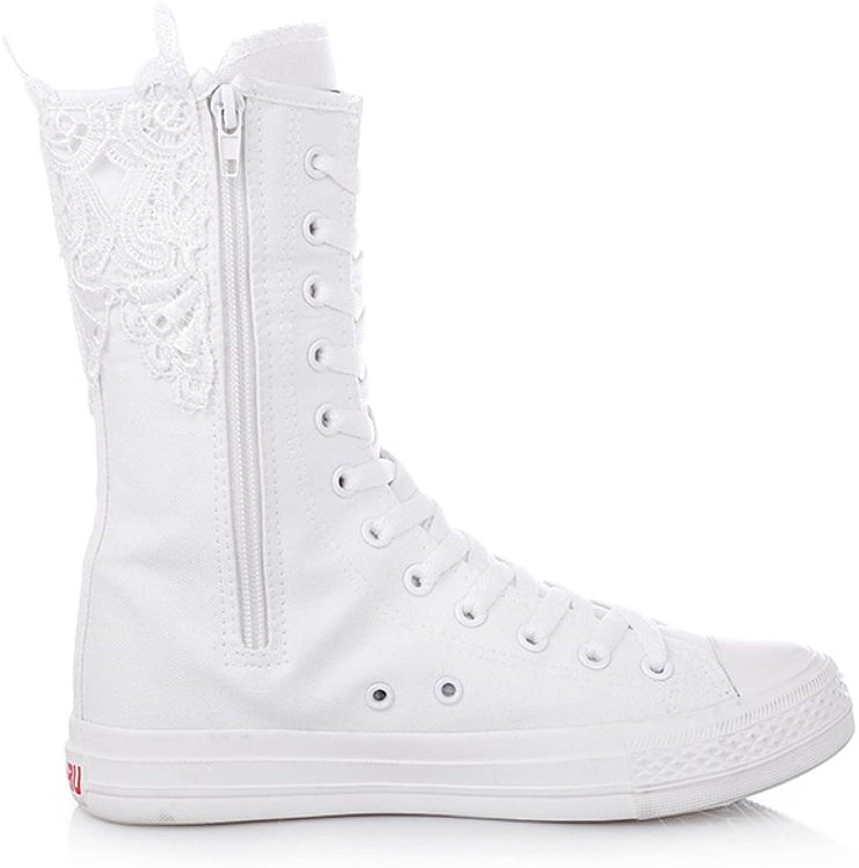 FORTUN Middle Zipper Canvas shoes Fashion Women's Cross Straps Sneakers