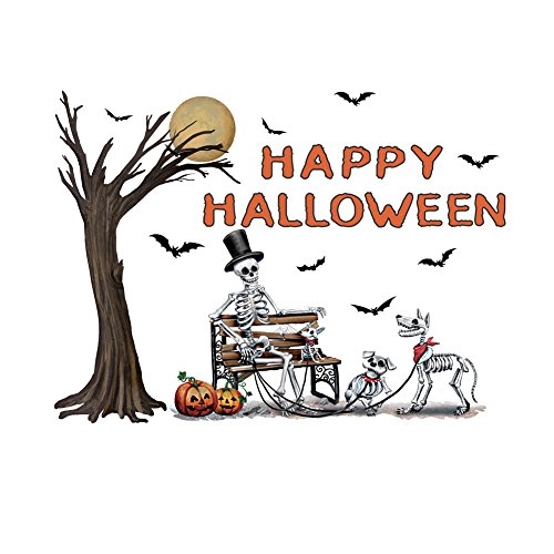 Happy Halloween Garage Door Magnetic Skeleton with Spooky Tree