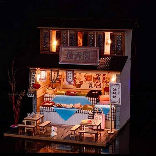 QYGGGAssembling Spielzeug Montage Spielzeug 3 PCS DIY Kabine Chinesische alte Architektur Restaurant DIY Puppenstuben