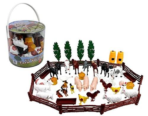 SCS Direct Farm Animal Toys Action Figures 50 Piece Toy Playset - 15 Unique Barnyard Animals and Accessories- Includes Cows, Horses, Chickens, Pigs and More