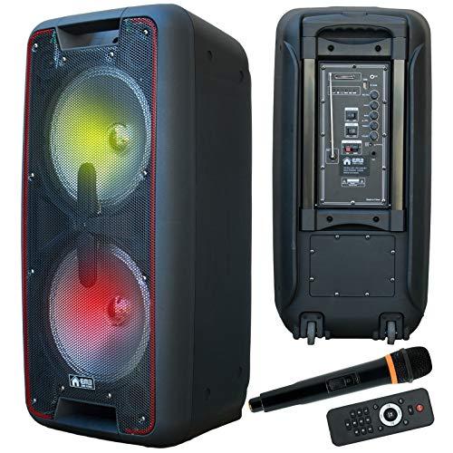 """EMB PKL4001BT DUAL 10"""" 2000 Watts Portable Powered DJ Party PA Speaker w/Bluetooth USB"""