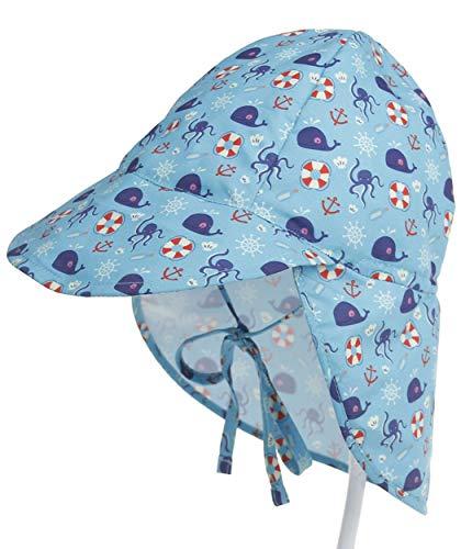 JOSSOIOJ Babymütze UPF 50+ UV-Schutz Sonnenhut verstellbare Badekappe mit Nackenklappe (Color : ZY, Size : S)