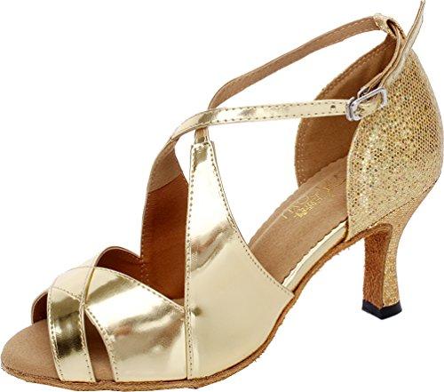 Zapatos latinos de oro para mujer tango social salón de baile vestido de novia bombas Peep Toe Custom Heel, color Dorado, talla 40 EU