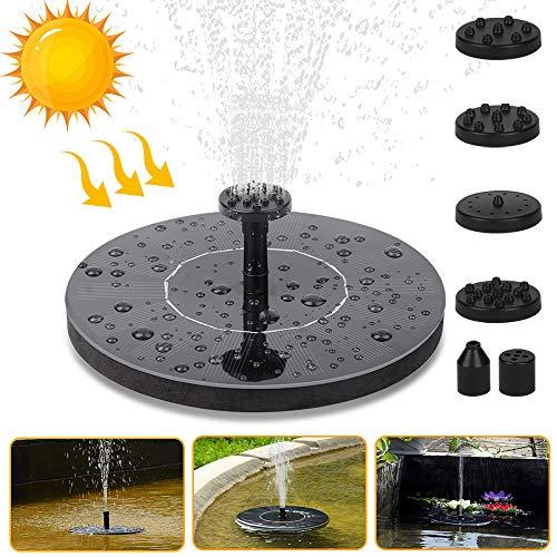 Vivibel Solar Springbrunnen Solar Schwimmender Fontäne Pumpe mit 6 Fontänenstile für Garten, Vogel-Bad,Teich,Fisch-Behälter (Schwarz)