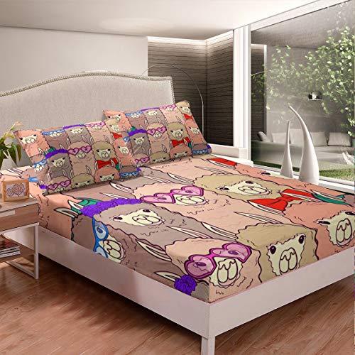 Juego de sábanas de llama, diseño de llama, alpaca, juego de sábanas para niños y niñas, diseño de animales sudamericanos. Juego de ropa de cama de 3 piezas, tamaño king