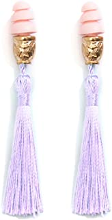 Utopiat Women's Earplugs, Audrey Hepburn Breakfast at Tiffany's Tassel, Costume, Artisan Made one Size Purple