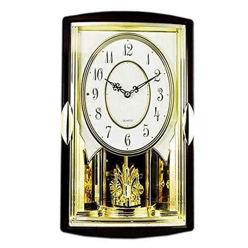 zvcv Reloj de Pared con Pilas, Movimiento Musical, música, carillón, Relojes sin tictac, decoración Decorativa para Sala de Estar, Dormitorio, Reloj Rectangular