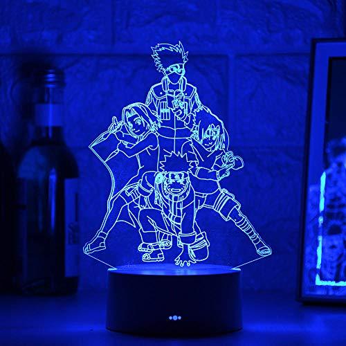 Anime 3D luz noche acrílico ilusión lámpara Naruto carácter diseño control remoto táctil USB niños sueño regalo de cumpleaños interior creativo decoraciones