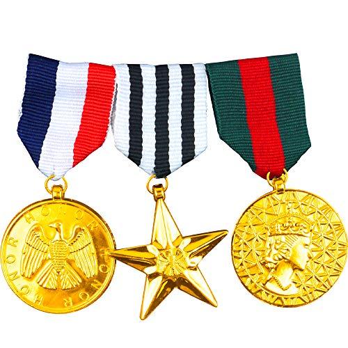 German Trendseller® 3-er Set - Armee - Ehren Abzeichen - Offizier ┃ Kriegs - Medaillen ┃ Soldat ┃Marine ┃ Air Force ┃ Karneval - Party
