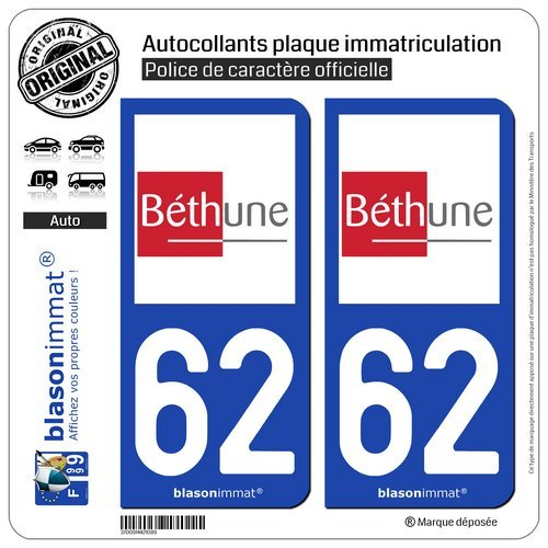 De 2 adhesivos placa de matrícula con 62400 Béthune-ciudad