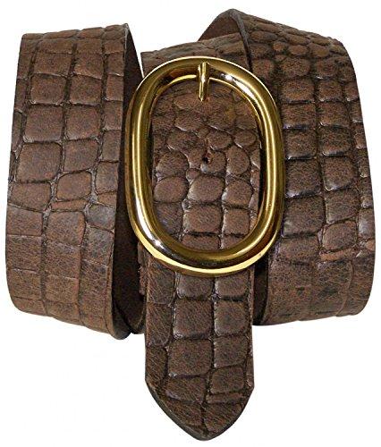 FRONHOFER Krokodilleder Gürtel 4 cm mit ovaler Gold Gürtelschnalle, Kroko Gürtel, Druckknopf, Wechselgürtel, Größe:Körperumfang 90 cm = Gesamtlänge 105 cm, Farbe:Mocca