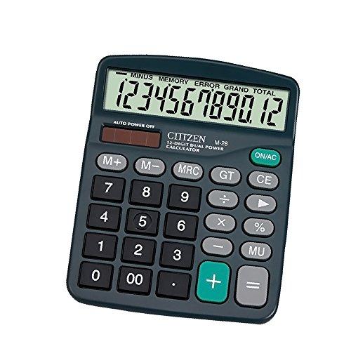Sweet decorations Desktop Calculator 12 Digits Dual Power Electronic Calculator Solar and AA Battery Dual Power (Black
