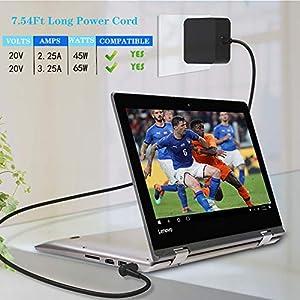 IdeaPad-AC Charger Fit for Lenovo Flex 5 4 6 ADLX65CCGU2A Flex-14 Flex-15, IdeaPad 3 5 S145 S340 S540 Flex 5-1470 5-1570 4-1470 4-1480 4-1570 6-14IKB 6-11IGM 1470 1570 Laptop Power Supply Adapter Cord