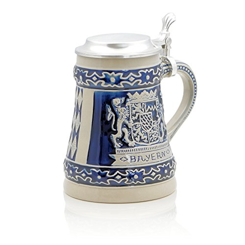 German Beer Stein 'Bayern' | Traditional Bavarian Beer Mug with Metal Lid | 0.5 liter (1 pt.) | blue | Made in Germany