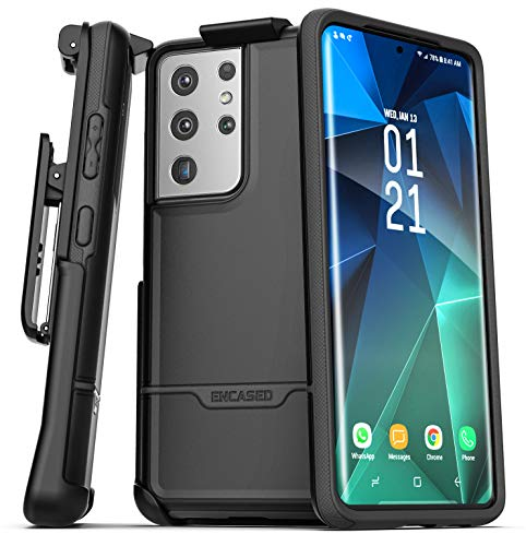 Encased Rebel Series Designed for Samsung Galaxy S21 Ultra Belt Clip Case (2021) Protective Heavy Duty Holster Phone Case - Black