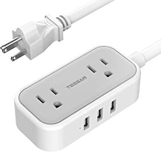 Small Power Strip with 3 USB Ports, TESSAN 2 Outlet Portable Plug Strip with 3 Feet Extension Cord, Mini Nightstand Desktop Charging Station Hub for Cruise Travel Essentials and Accessories