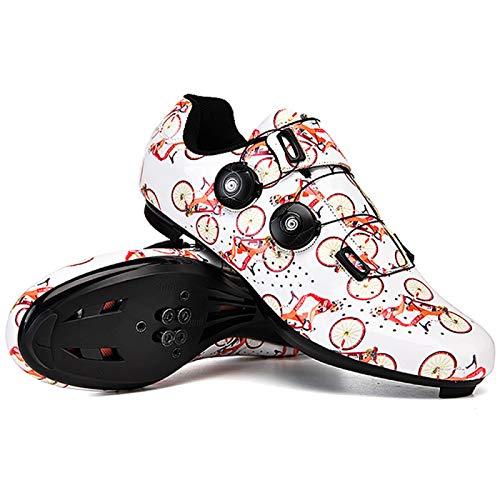 AGYE Zapatillas de Bicicleta de Carretera Pro para Hombre,Zapatillas de Ciclismo con SPD,Zapato Giratorio Transpirable para Montar,Ciclo de Centrifugado, Ciclismo de Ruta en Interior,Orange-EU41