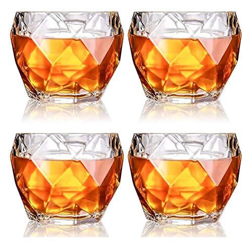 NIANXINN Gafas de Cristal de Whisky, Gafas escocesas Premium, Gafas de Bourbon para cócteles, Cristal de Roca de Moda de Estilo de Roca, Conjunto de 4, 11 oz Decantador de Whisky