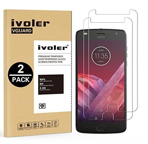 ivoler [2 Stücke] Panzerglas Schutzfolie für Motorola Moto Z2 Play [9H Härte] [Anti- Kratzer] [Bläschenfrei] [2.5D Runde Kante]