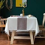 DJUX Mantel de Tela de algodón y Lino de Encaje a Rayas Simple tapete de Mesa Cuadrado Mantel de Mesa de café 140 * 240 cm