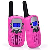 Flybiz Talkies Walkies, PMR446 8 Canaux,1 Paire Enfants Talkie Walkie 3 km de Long Distance Interphone Cadeau De Noël Enfants Jouets (Rose)