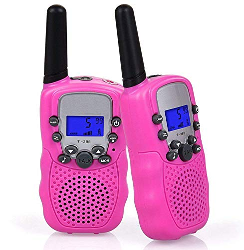 Flybiz Walkie-Talkie, Ricetrasmittente 8 Canali 2 x Walkie Talkies PMR446MHZ per Bambini 2 Way Radio Interphone PortatileFino a 3300 Metri / 2 Miglia (Rosa)