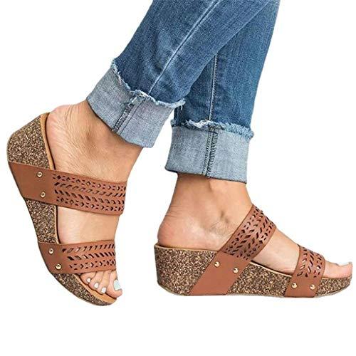 Damen Sommer Sandalen Lässige Flache Schuhe Plateau Flat Heel Elegant Espadrilles Römersandalen Pantoletten Peep Toe Flip Flop Schuhe Strandsandalen
