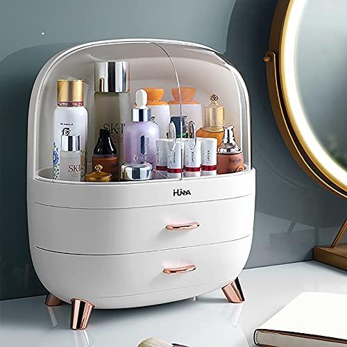 Ihuiniya Modern Makeup Storage Organizer Box Cosmetics storage display rack with drawer,Waterproof, dustproof, elegant display cabinet,Suitable for bathroom countertop, bedroom dresser (Medium White)