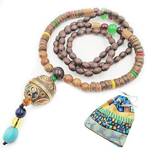 Long collier à chaîne de style traditionnel pour femme avec perles en bois naturel et pendentif en p...