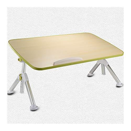 XJL Mesa de comedor plegable, mesa de día, escritorio portátil de pie, bandeja de desayuno con patas plegables, adecuada para dormitorio, sala de estar, balcón ajustable (color: verde, tamaño: L)