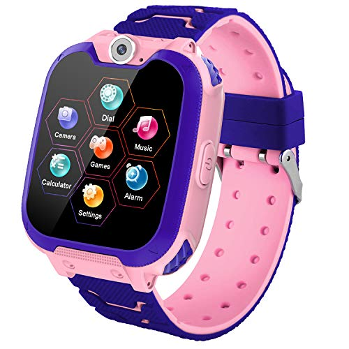 Kids Games Smartwatch Phone - 1.44'' HD Touch Screen Boys Girls Watch with MP3 Player 2 Way Call Camera Clock Voice-Record Calculator for Students Back to School Learning Birthday Gifts, Pink