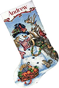 DIMENSIONS Gold Collection Counted Cross Stitch 'Snowman Gathering' Personalized Christmas Stocking Kit, 18 Count White Aida, 16