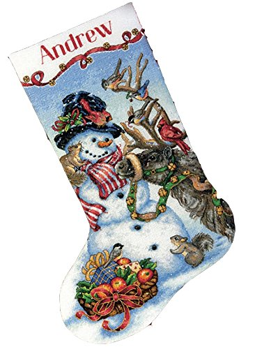 DIMENSIONS Gold Collection Counted Cross Stitch 'Snowman Gathering' Personalized Christmas Stocking Kit, 18 Count White Aida, 16'