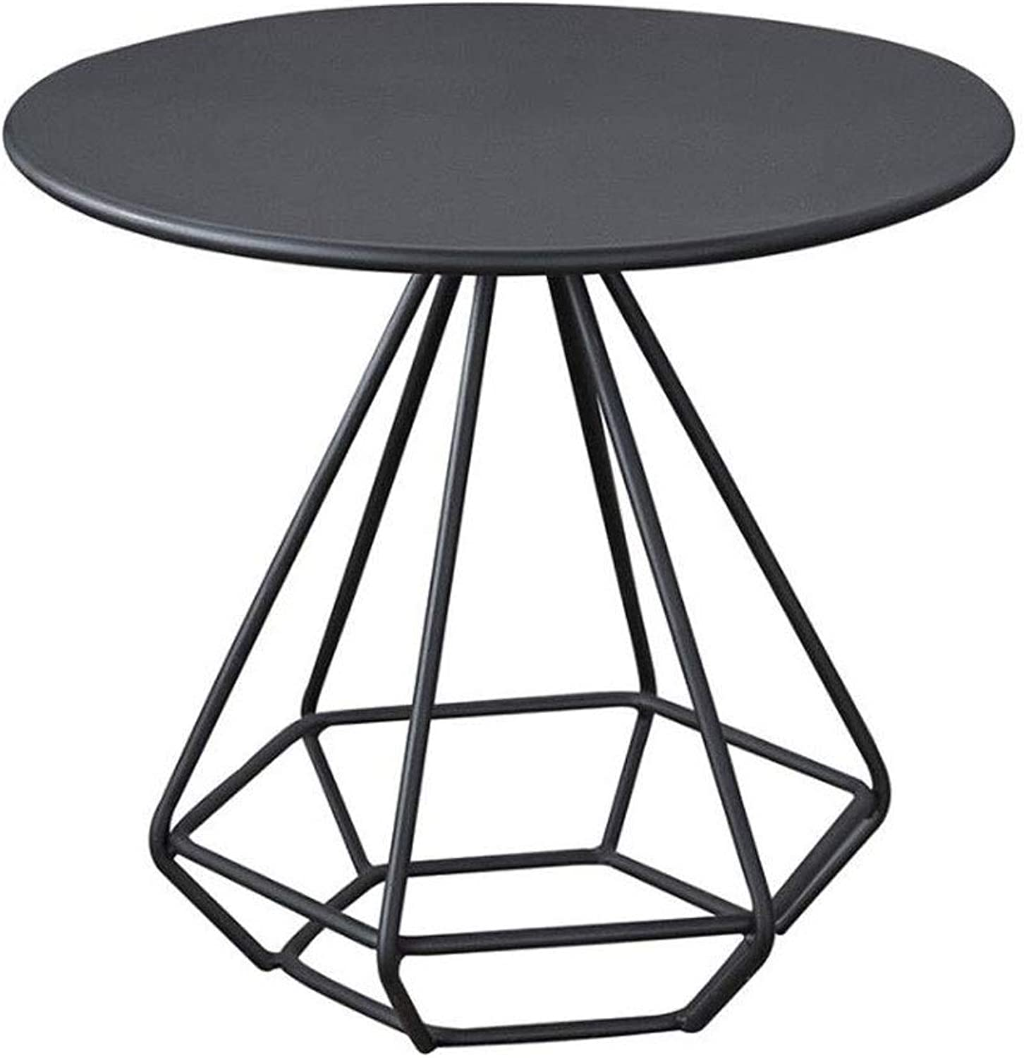 LYN Sofa Side End Table, Coffee Table Set Side Table with Metal Legs, Living Room Cafe Round Metal Frame,55  55  50 cm (color   Black)
