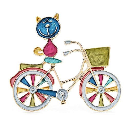 ROTOOY Women's Brooches Pins Multicolor Enamel Cat Brooch Pins Gift Sitting on Shopping Bike Cute Animal Badge Year Jewelry Accessories-Blue