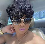 HOTKIS Short Curly Hair Wigs for Black Women Synthetic Short Black Hair Curly Wigs for Women