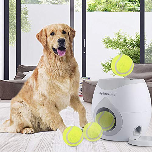 4pawslife Automatic Dog Feeder, Interactive Dog Ball Fetch and Treat Dispenser Tennis Ball Reward Machine for Dogs, Funny Dog Foraging Play Toy