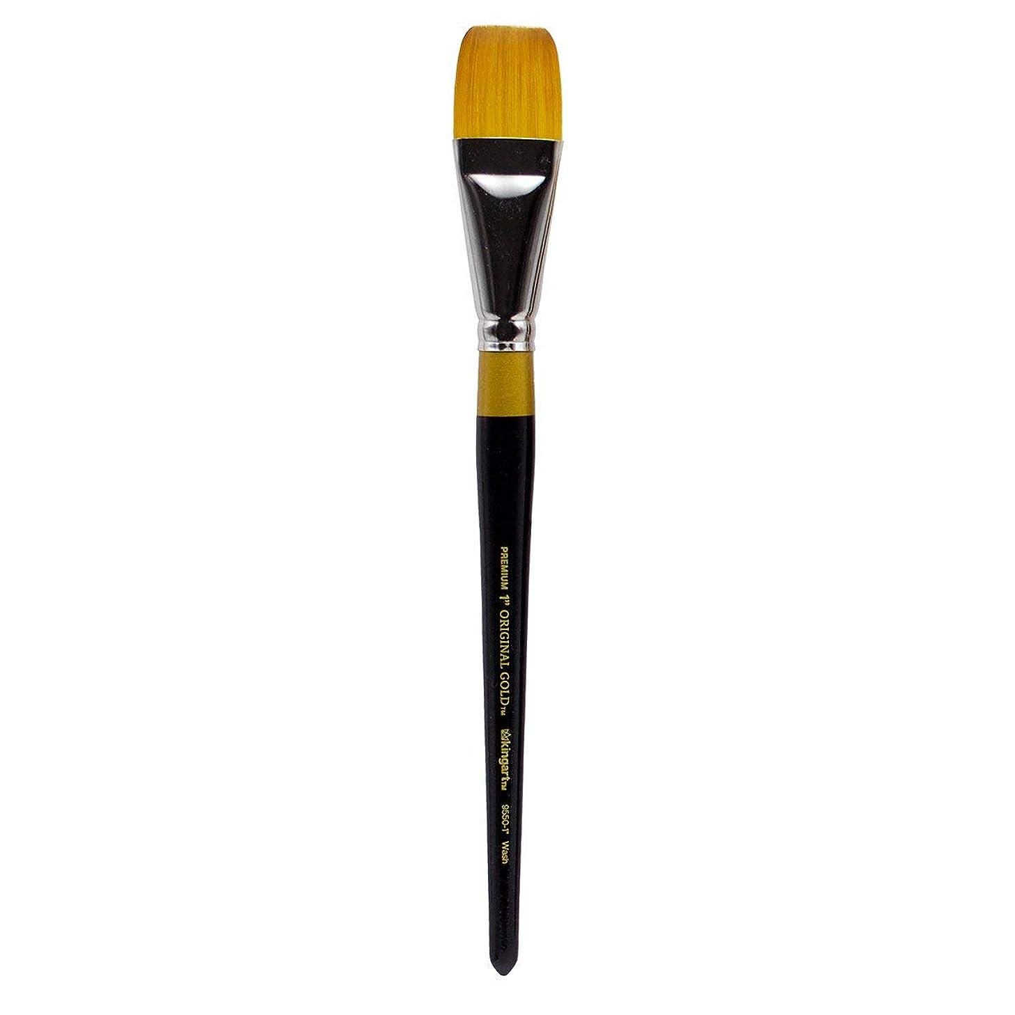 KINGART Original Gold Flat Glaze 9550-3/4, Premium Artist Brush, Golden TAKLON WASH-Size: 3/4, Black