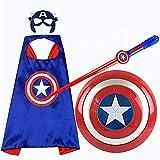 Escudo De Capitán América Disfraz Capitán América Set - Carnaval - Halloween -Superhéroe - Color Azul - Regalo Para Niños