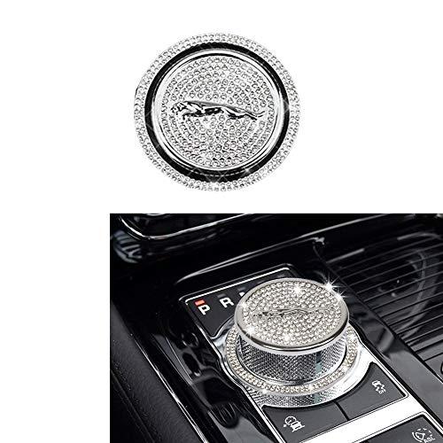 MAXDOOL Crystal Rhinestone Car Bling Accessories Gear Shift Knob Cover Decoration Trim Sticker for Jaguar XF XE XJ F-Pace (Silver)