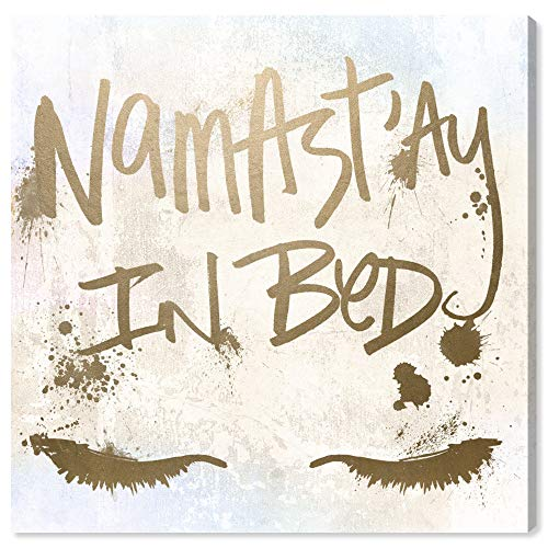 The Oliver Gal Artist Co. Typography and Quotes Wall Art Canvas Prints 'Namastay in Bed' Home Décor, 12' x 12', Gold