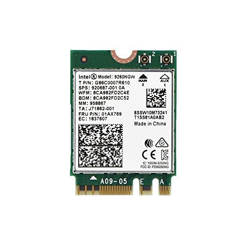 Tarjeta inalámbrica WiFi de 1730 Mbps Intel 9260NGW NGFF, alta velocidad, 2,4 G + 5 G doble banda 802.11ac WiFi Bluetooth 5.0 módulo tarjeta inalámbrica, soporte Linux/Chrome/Windows 10