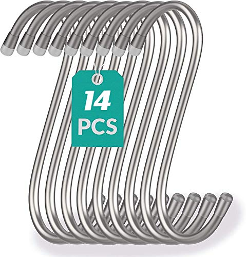 14 pezzi Ganci da appendere a forma di S in acciaio inox,Ganci a S in metallo resistente a forma di S,per utensili da cucina, ufficio, bagno, armadio, ufficio, casa, set essenziale