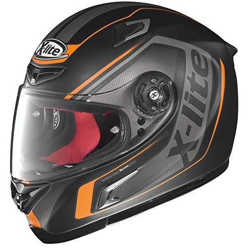 X-Lite X-802-R Haryos - Casco da racing, colore nero opaco, arancione, S (55/56)