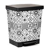 TATAY Cubik Hydraulic Cubo de Basura para la Cocina con Apertura a Pedal, Capacidad para 23 litros, Fabricado en plstico Polipropileno, Gris/Blanco, 35.5 x 30 x 39 cm