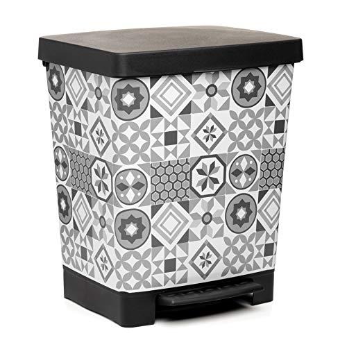 TATAY Cubik Hydraulic Cubo de Basura para la Cocina con Apertura a Pedal, Capacidad para 23 litros, Fabricado en plástico Polipropileno, Gris/Blanco, 35.5 x 30 x 39 cm